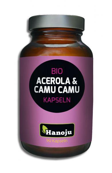 Hanoju Bio Acerola Pulver + Bio Camu Camu Pulver 90 Kapseln 350 mg