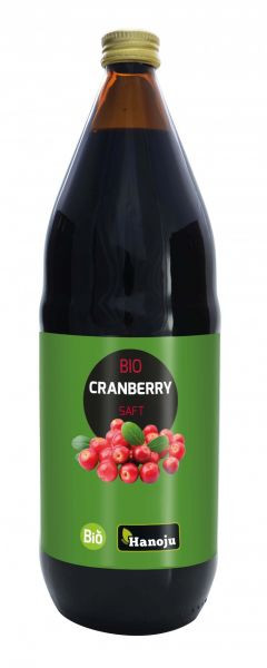 Hanoju Bio Cranberry Direktsaft 1000 ml