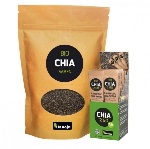 Bio Chia Samen 1000 g + Bio CHIA2GO 14 Sticks (14 x 15g)